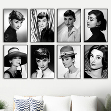 Audrey Hepburn Black White Nordic Posters And Prints Wall Art Canvas Painting Pictures For Living Room Bedroom Home Decor