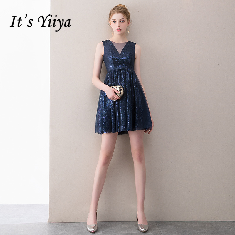 It's YiiYa Cocktail Dresses Sexy V-neck Knee Length Party Gowns Royal Blue Sequins Sleeveless Zipeer Formal Dress E403