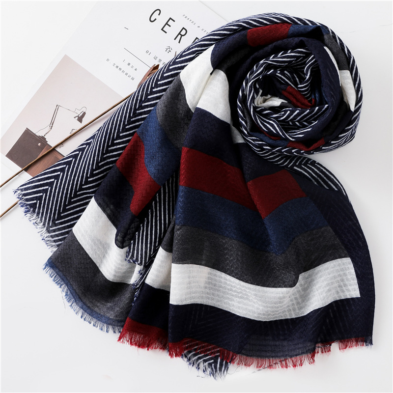 2018 Autumn Winter Fashion Striped Line Viscose Scarf Ladies Luxury Brand Print Shawls and Wraps Bandana Foulards Hijab Sjaal