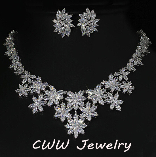 White Gold Color Marquise Shape Cubic Zirconia Large Flower Wedding Necklaces And Earrings Sets For Bridal