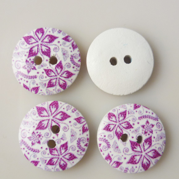 100PCS 18MM purple flower painting wooden buttons sewing clothes boots coat accessories MCB-219