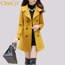 CbuCyi 4 kolory Plus rozmiar płaszcz kobieta kurtka z wełny Slim podwójne piersi skręcić w dół kołnierz długie kurtki płaszcze damskie płaszcz z mieszanki
