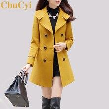 CbuCyi 4 renk artı boyutu palto kadın yün ceket ince kruvaze turn aşağı yaka uzun ceketler Coats kadın karışımları ceket
