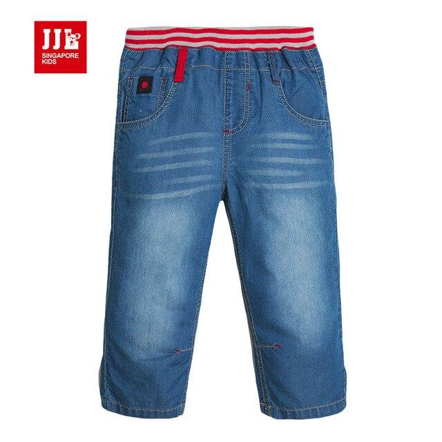 2015 новости лето дизайн мальчики демин джинсы половинной длины брюки прямая нога регулируемая повседневная дети брюки размер 4-11 лет летом сгусток