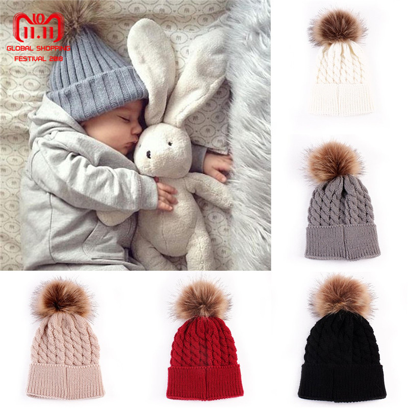 Infant Winter Warm Knit Crochet Caps Baby Beanie Hat Toddler Kid Faux Fur pom pom Knit skullies ski Cap 0-3 years