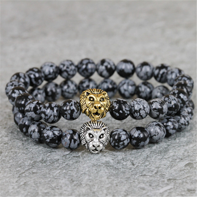 2017 New Design Mens Bracelets Retail 8mm Snowflake Obsidian Stone Beads Antique Silver and Gold Color Lion Head Bracelets