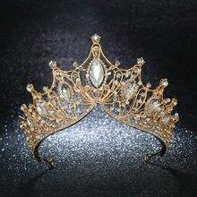 KMVEXO Vintage de la princesa de la Reina de la gran corona de la boda de novia diadema pelo joyas adornos para las mujeres de cristal de oro de la diadema de concurso