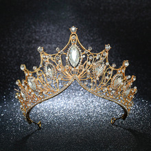 KMVEXO Vintage Queen Princess Big Crown Wedding Bridal Diadem Hair Jewelry Ornaments For Women Gold Silver Crystal Tiara Pageant