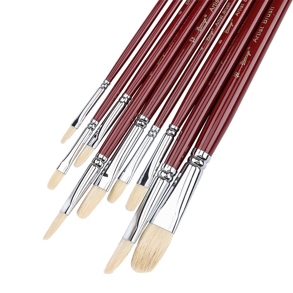 9Pcs Artist Filbert Nylon Hair Acrylic Painting Brush Set Long Handle School Drawing Tool Oil Acrylic Brush For Art Supplies