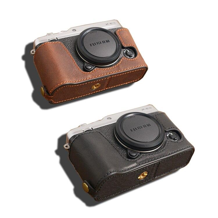 AYdgcam marque étui en cuir véritable pour appareil photo fait à la main demi-corps couvercle inférieur pour Fuji Fujifilm XE3 X-E3 conception de batterie ouverte