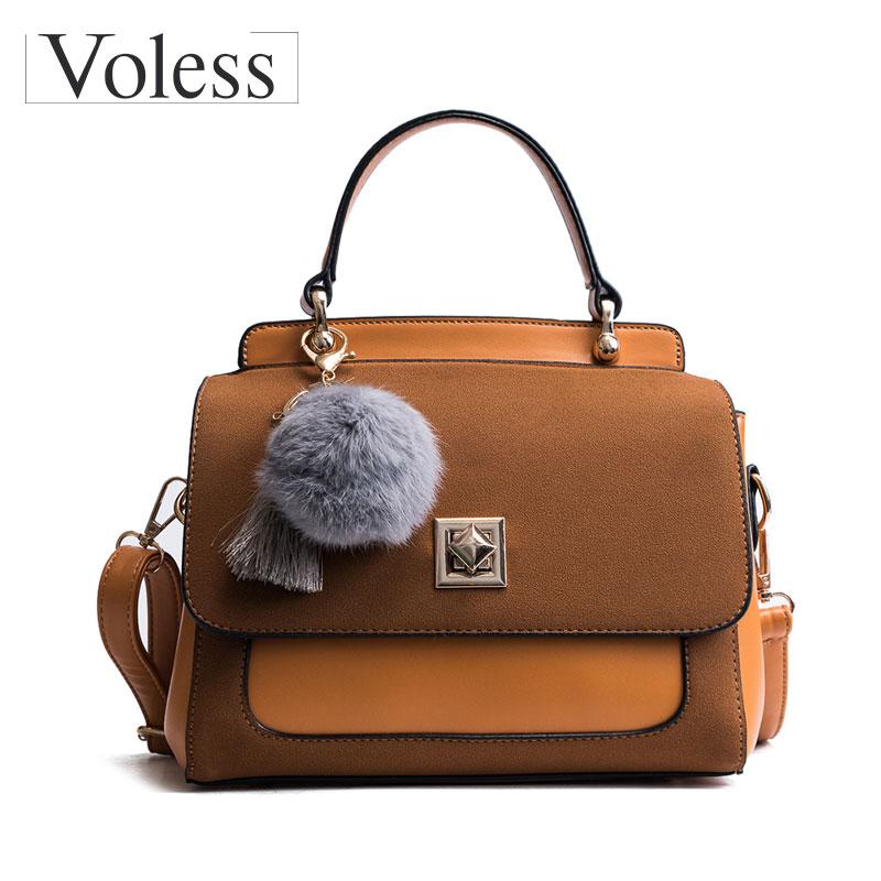 Voless Brand Shell Bag Women Soft PU Leather Handbags Fashion Hairball Women Crossbody Bags High Quality Tassel Tote Ladies Bags