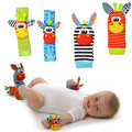 High quality 4Pcs Baby Rattle Toy wrist Socks Animal Cute Cartoon Baby Socks with retail package 20%Off