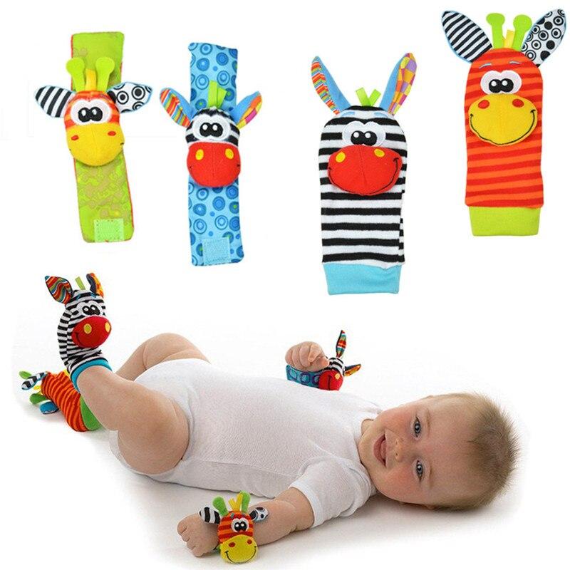 Hohe qualität 4 Pcs Baby Rassel Spielzeug handgelenk Socken Tier Niedlichen Cartoon Baby Socken mit einzelhandel paket 20% Off