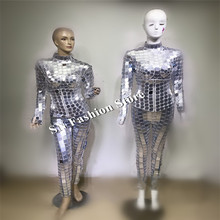 DC81 Ballroom dancer costumes mirror robot suit stage show dj wears dresses catwalk models club bar