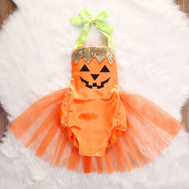 ee6b9d4b4 2017 Cute Newborn Infant Baby Girls Halloween Pumpkin Clothes Baby Girls  Sleeveless Jumpsuit Bodysuit TUTU Dress Costume Outfit