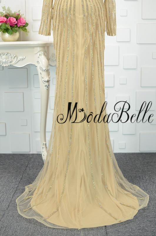modabelle Ντουμπάι χρυσό φόρεμα με μακρύ - Ειδικές φορέματα περίπτωσης - Φωτογραφία 6