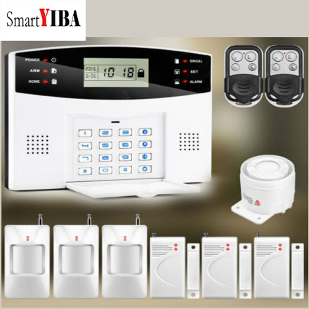 SmartYIBA Metal Remote Control Voice Prompt Wireless door sensor Home Security GSM Alarm systems LCD Display SIM SMS Alarm Kit metal remote control home security gsm alarm systems voice prompt wireless door sensor lcd display wired siren kit sim sms alarm