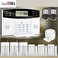 SmartYIBA Metal Remote Control Voice Prompt Wireless door sensor Home Security GSM Alarm systems LCD Display  SIM SMS Alarm Kit