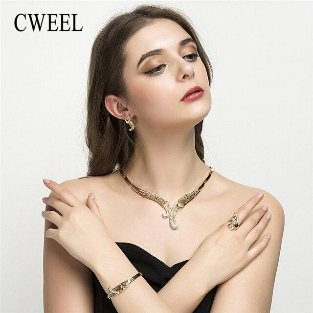 CWEEL תכשיטי סט חתונת נשים חיקוי קריסטל קולר שרשרת עגילי כלה דובאי זהב צבע אפריקאי חרוזים תכשיטי סט