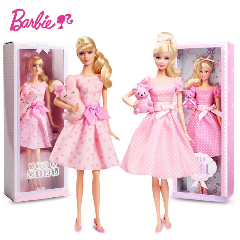 Barbie Original Dolls Pink Blessing Collection Doll Dot Dress Cute Bear Princess Kids Birthday Gift Toys