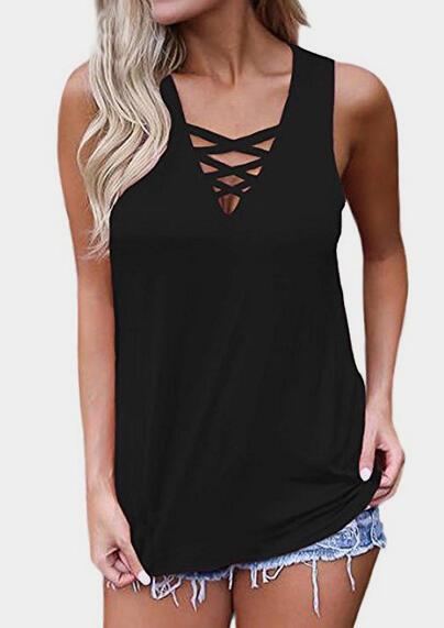 Criss-Cross Casual   Tank     tops   summer   top   women clothes 2019 black   top   women   tank     top   mujer haut femme camiseta tirantes mujer 3xl