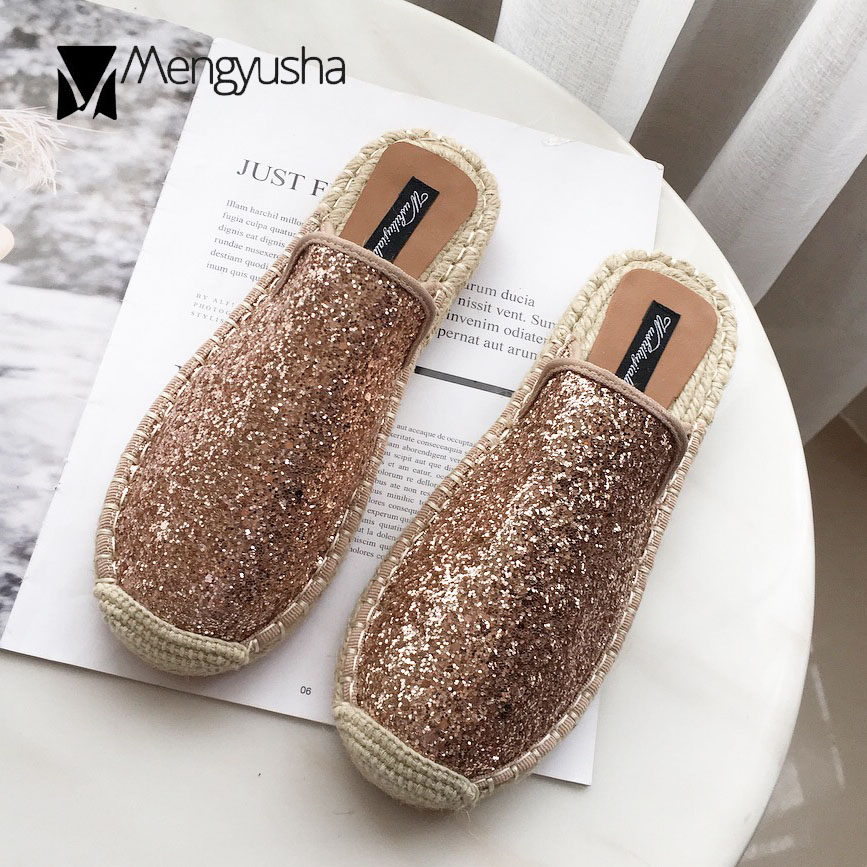 Aliexpress.com   Buy blue gold glitter espadrilles sandals women bling bling  closed slippers summer rope slides women sequined flip flops mules c788 from  ... 91a98cffd727