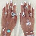 Kirin snake elephant rings 8pcs one set turquoise rings for women vintage summer bijoux anel 0134