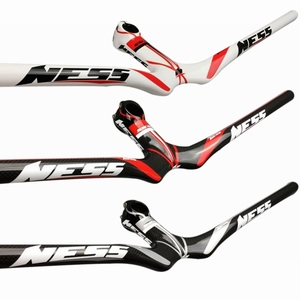 NESS Carbon Fiber Bicycle MTB One shaped Integrated Handlebar With Stem Bike Mountain Riser Handlebar|Bicycle Handlebar|   -