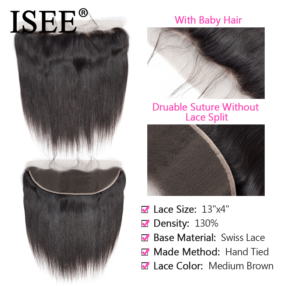 ISEE HAIR Malaysisk Straight Hair Frontal Lace Closure 13 * 4 öron - Mänskligt hår (svart) - Foto 3