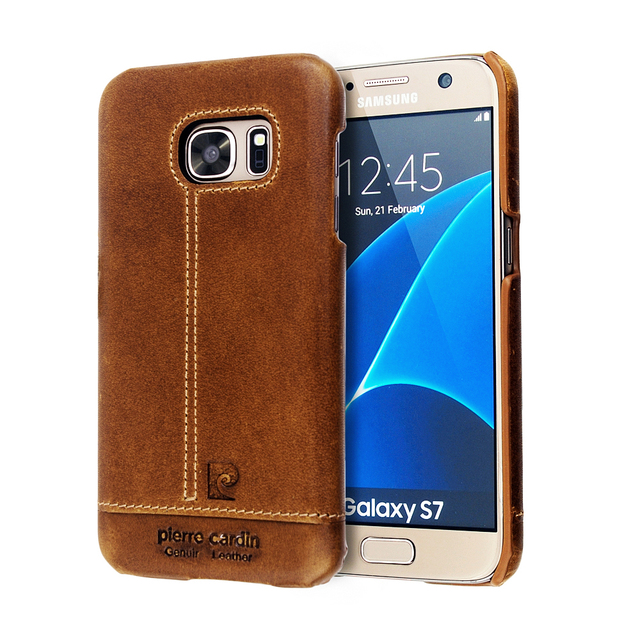 the latest b4d22 4b74e US $22.16 |For Samsung Galaxy S7 Cases Luxury Brand Genuine Leather Cover  Case For Samsung Galaxy S7 Original Pierre Cardin Case Phone Case-in Fitted  ...