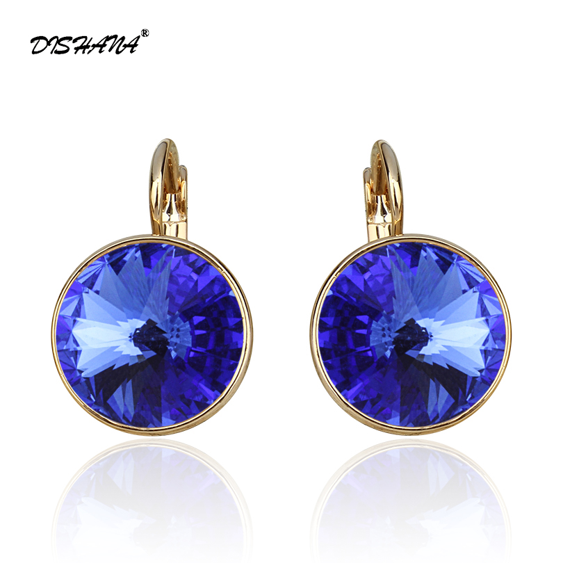 Dishana Drop Earrings for Women Elegant Earing with Stones Femme Fashion Jewelry Round 100% Austrian Crystals Jewelry (E0098-1)