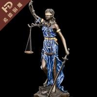 ANTIQUE CHINESE Healing blue art deco girl sculpture Bronze Justice fairy Statue Garden Decoration 100% real Brass Bronze