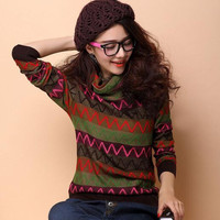 Das 2016 mulheres novas autêntico puro suéter de cashmere feminino Coreano high-necked longo-sleeved camisola hedging