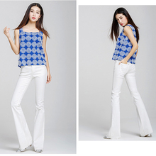 2016 white brief fashion jeans boot cut trousers slim fit lady's pant tailor cut free shipping