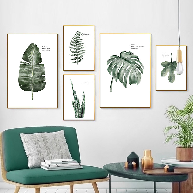 Watercolor Tropical Plant Leaves Canvas Painting Art Nordic Posters and Prints Green Wall Pictures Kids Room Decor