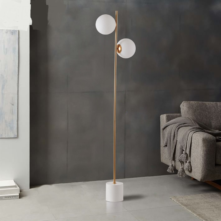 Modern glass ball floor lamp Nordic bedroom bedside lamp round the living room sofa 2 heads floor light ZA81599 french garden vertical floor lamp modern ceramic crystal lamp hotel room bedroom floor lamps dining lamp simple bedside lights