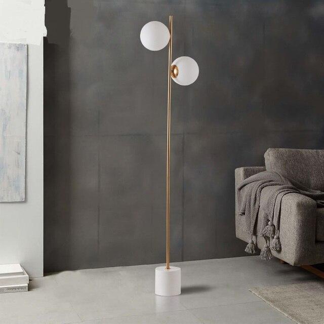 US $380.0 |Moderna lampada da terra palla di vetro Nordic lampada da  comodino camera da letto rotondo divano del soggiorno 2 teste luce  pavimento ...