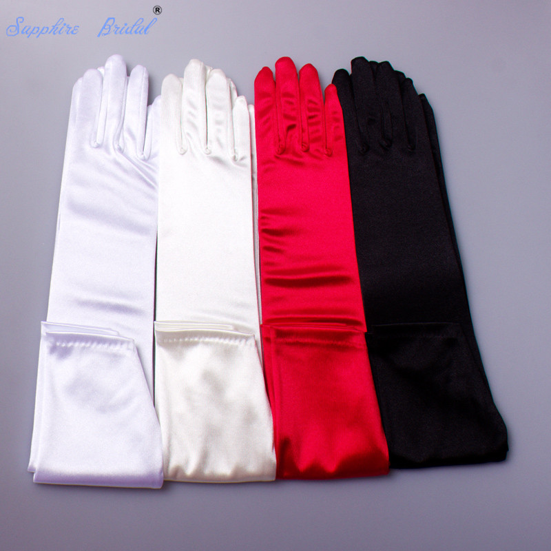 Sapphire Bridal Stretch Satin Gloves Long Above the elbow length Bridal Dance Gloves for Wedding Party Prom