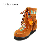 ( hight colors ) Brand Big Size 31 43 Fashion Indian style Scrub Leather Women Wedges Heels Long Boots Woman Tassel Ankle Boots