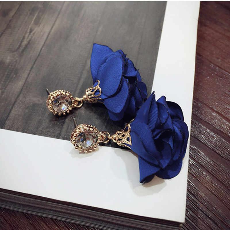 Korean Hot Jewelry Retro Round Zircon Fabric Flower Petals Earrings for Women Cloth Art Flowers Crystal Earrings Bijoux Gift