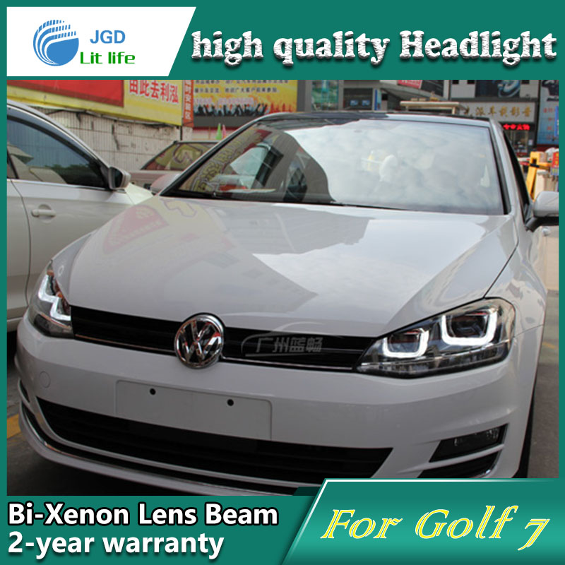 car-styling! Golf7 headlight,2014~2016,Free ship!chrome,Golf7 fog light,chrome,LED,2ps+2pcs Aozoom Ballast,Golf,Golf6,Golf 7