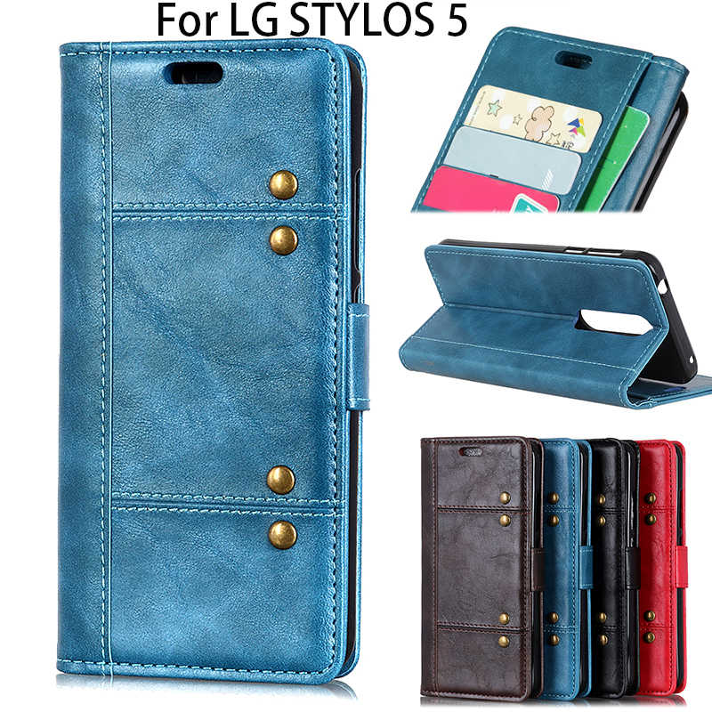 Untuk LG Stylos 5 Luxury Smart Ponsel Android Kulit Case Coque, q60 K50 G8S Thinkq Bisnis Stand Anti Break Flip Cover Fundas