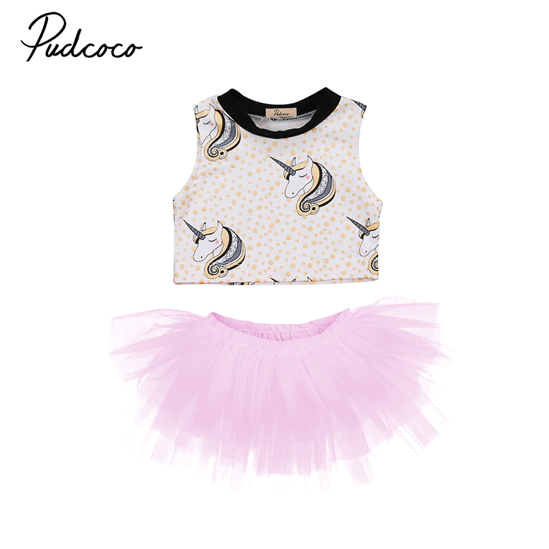 2017 Cute Newborn Toddler Kids Girls Unicorn Clothes Sleeveless Crop Tops+Tutu Skirt 2PCS Princess Children Clothing Set 0-3Y