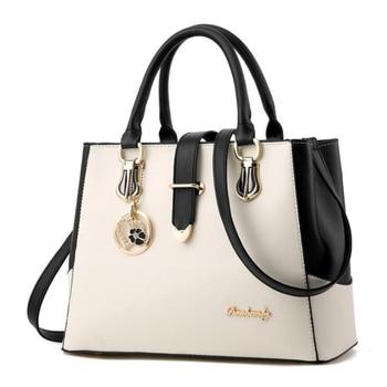 White Leather handbag tote