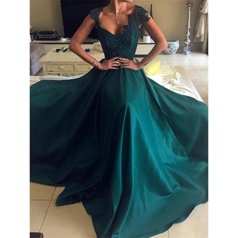 Dark Green   Evening     Dresses   Long 2019 robe de soiree Open Back Formal Women Party Gowns Special Occasion   Dress   abendkleider
