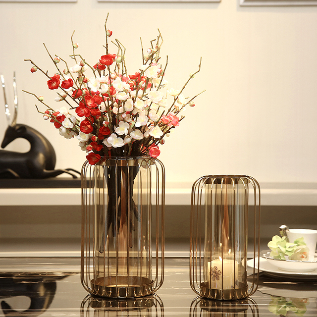 Modern Creative Wrought Iron Birdcage Vase Ornaments Wedding Decor