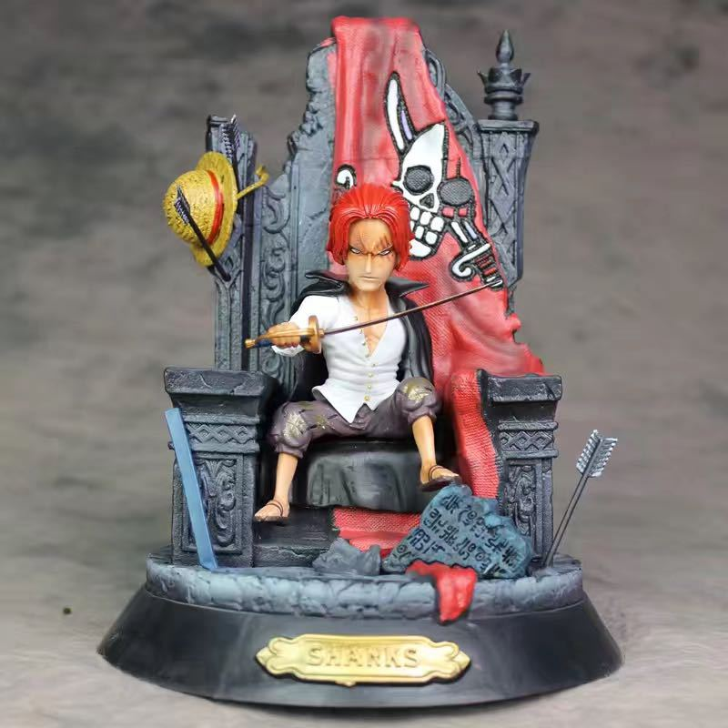 Anime One Piece GK Statue Shanks on Iron Throne Action Figure Collection Toy 24CM
