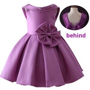 Image 3 - Little Kids Satin First Communion Dresses Glitz Ball Gown Pageant Dress Flower Girl dresses for Weddings banquet Back Dress
