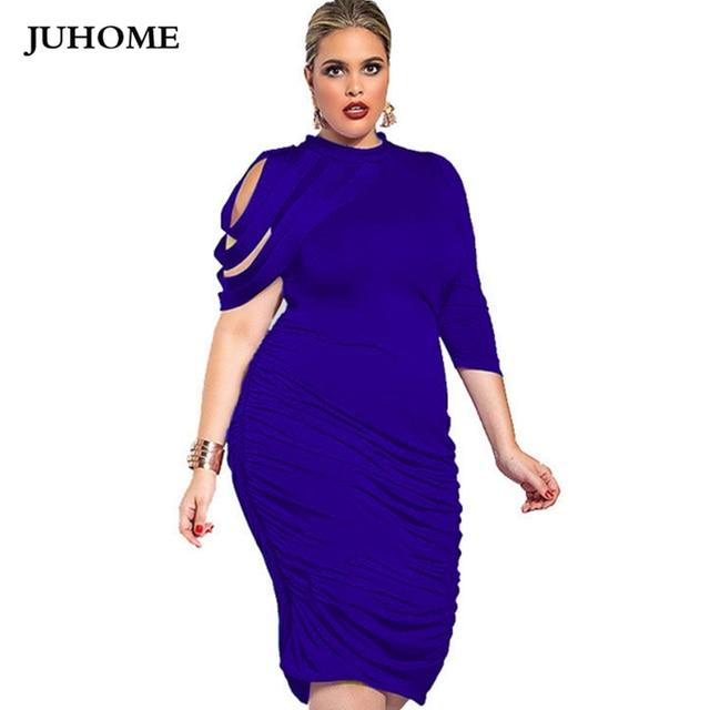 Plus Size New Fashion Women Clothing 2018 Basic Sexy One-Shoulder office  Dress Slim Big 75ea22600a2e