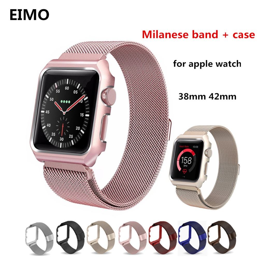 EIMO Milanese Loop strap+case For Apple Watch band 42mm/38mm Link Bracelet Stainless Steel watchband for iwatch series 3/2/1 crested milanese loop strap for apple watch band 42mm 38mm stainless steel link bracelet wristband for iwatch 3 2 1 with case